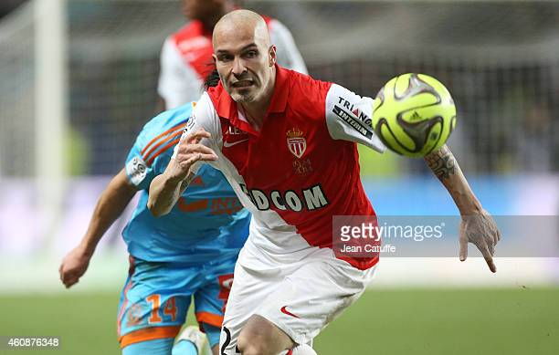 Andrea Raggi of Monaco in action during the French Ligue 1 match between AS Monaco FC v Olympique de Marseille OM at Stade Louis II on December 14...