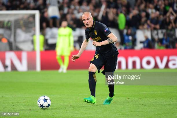 Andrea Raggi of Monaco plays the ball forwards during the Uefa Champions League match semi final second leg between Juventus FC and As Monaco at...