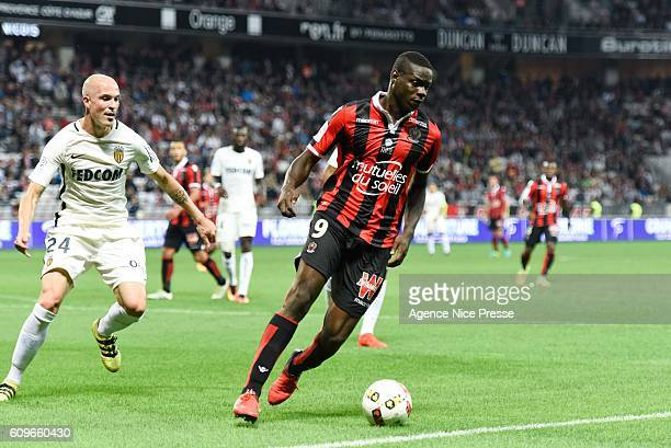 Andrea Raggi player of Monaco and Mario Balotelli player of Nice during the French Ligue 1 game between OGC Nice and AS Monaco on September 21 2016...