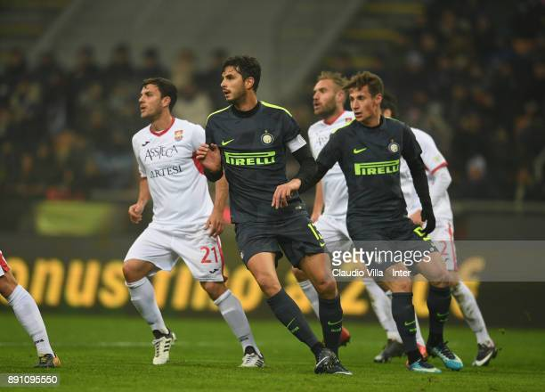 Andrea Ranocchia and Andrea Pinamonti of FC Internazionale in action during the TIM Cup match between FC Internazionale and Pordenone at Stadio...