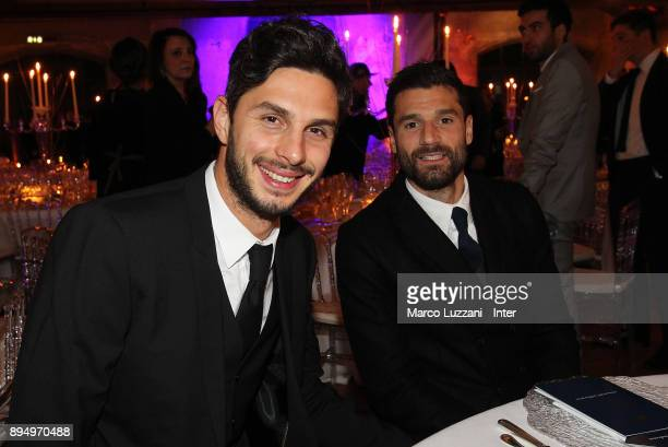 Andrea Ranocchia and Antonio Candreva of FC Internazionale attend FC Internazionale Christmas Party on December 18 2017 in Milan Italy
