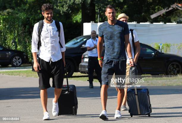 Andrea Ranocchia and Daniele Padelli of FC Internazionale arrive at the club's training ground Suning Training Center in memory of Angelo Moratti on...