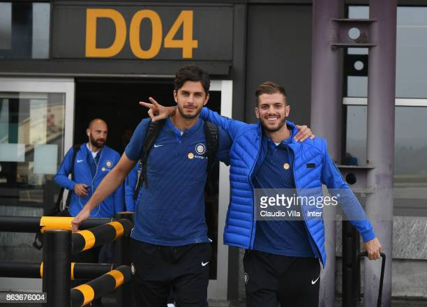 Andrea Ranocchia and Davide Santon of FC Internazionale depart to Naples on October 20 2017 in Milan Italy