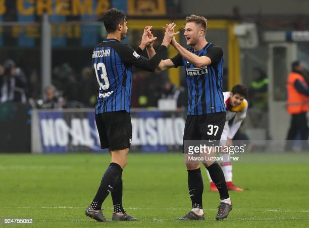 Andrea Ranocchia and Milan Skriniar of FC Internazionale celebrate a victory at the end of the serie A match between FC Internazionale and Benevento...