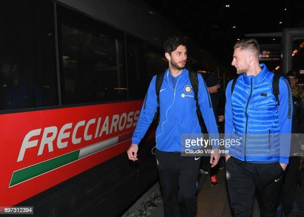 Andrea Ranocchia and Milan Skriniar of FC Internazionale depart to Reggio Emilia ahead of the Serie A match vs Sassuolo on December 22 2017 in Milan...