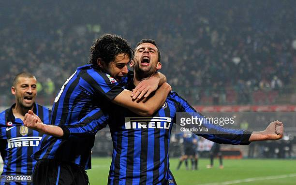 Andrea Ranocchia and Thiago Motta of FC Inter Milan celebrates scoring the first goal during the Serie A match between FC Internazionale Milano and...