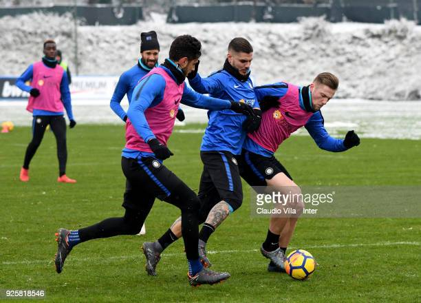 Andrea Ranocchia Mauro Icardi and Milan Skriniar of FC Internazionale in action during the FC Internazionale training session at the club's training...