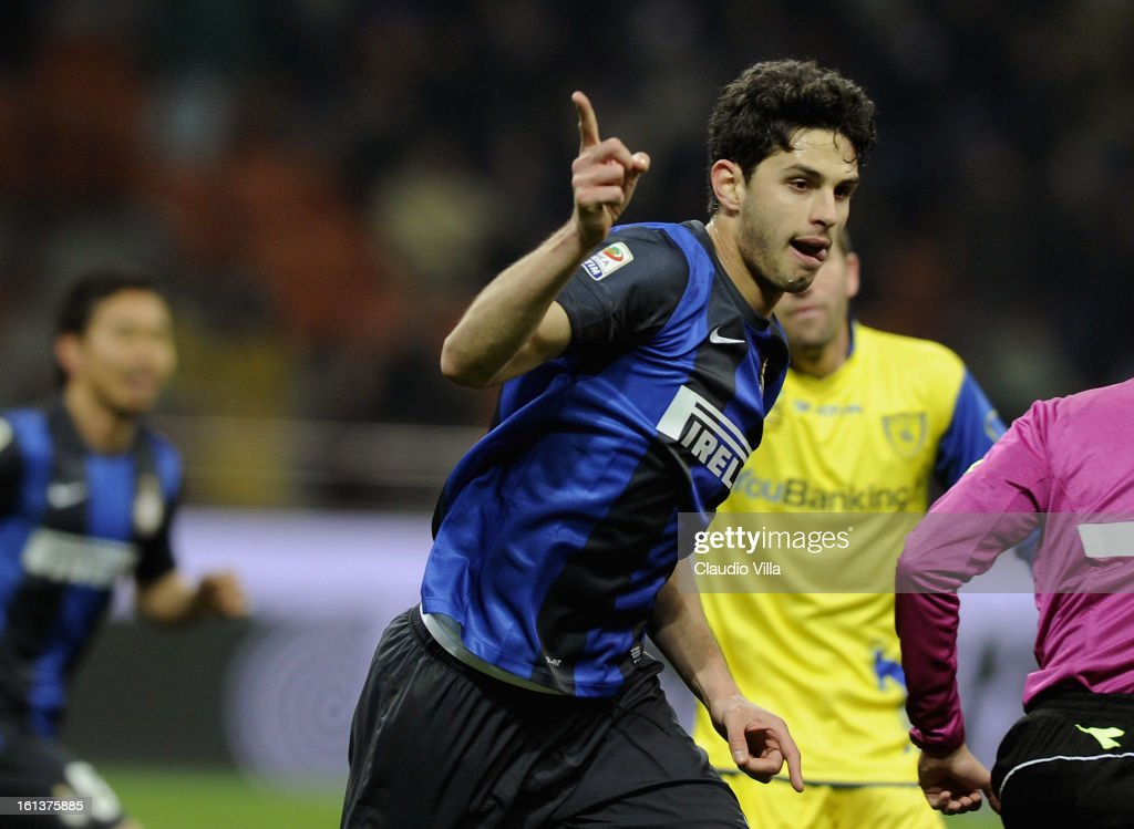 Andrea Ranocchia #23 of FC Inter Milan celebrates after scoring his team's second goal during the Serie A match between FC Internazionale Milano and AC Chievo Verona at San Siro Stadium on February 10, 2013 in Milan, Italy.