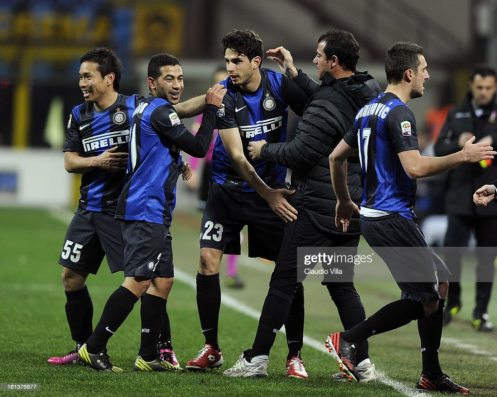 Andrea Ranocchia #23 of FC Inter Milan celebrates with team-mates after scoring his team's second goal during the Serie A match between FC Internazionale Milano and AC Chievo Verona at San Siro Stadium on February 10, 2013 in Milan, Italy.