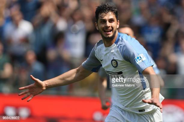 Andrea Ranocchia of FC Internanzionale reacts during the serie A match between Udinese Calcio and FC Internazionale at Stadio Friuli on May 6 2018 in...