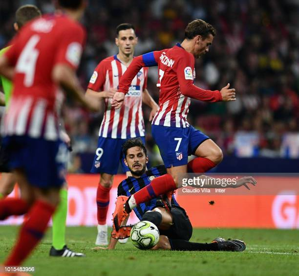 Andrea Ranocchia of FC Internazionale and Antoine Griezmann of Atletico Madrid compete for the ball during the International Champions Cup 2018 match...