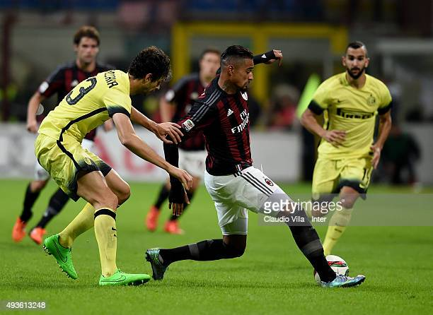 Andrea Ranocchia of FC Internazionale and Kevin Prince Boateng of AC Milan compete for the ball during the Berlusconi Trophy match between AC Milan...
