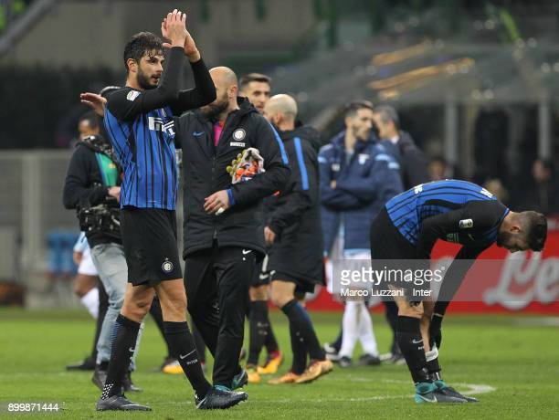 Andrea Ranocchia of FC Internazionale applauds the fans at the end the serie A match between FC Internazionale and SS Lazio at Stadio Giuseppe Meazza...