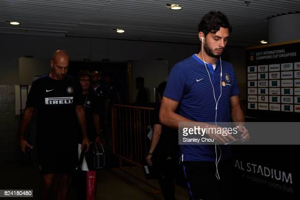 Andrea Ranocchia of FC Internazionale arrives prior to kick off during the International Champions Cup match between and Chelsea FC at National...