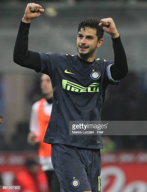 Andrea Ranocchia of FC Internazionale celebrate victory over Pordenone in a penalty shoot out during the TIM Cup match between FC Internazionale and...