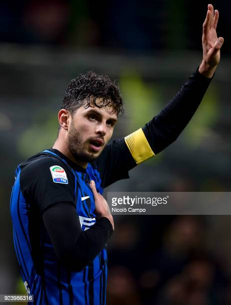 Andrea Ranocchia of FC Internazionale celebrates after scoring a goal during the Serie A football match between FC Internazionale and Benevento...