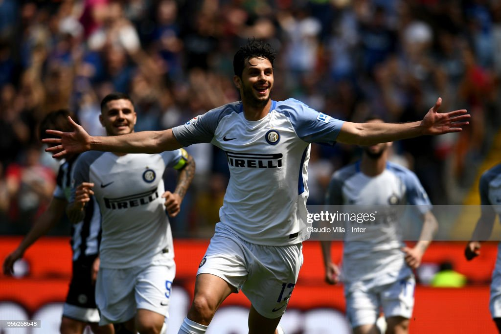 Andrea Ranocchia of FC Internazionale celebrates after scoring the opening goal during the serie A match between Udinese Calcio and FC Internazionale at Stadio Friuli on May 6, 2018 in Udine, Italy.