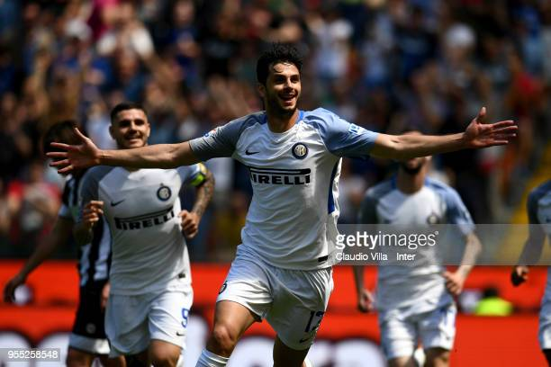 Andrea Ranocchia of FC Internazionale celebrates after scoring the opening goal during the serie A match between Udinese Calcio and FC Internazionale...