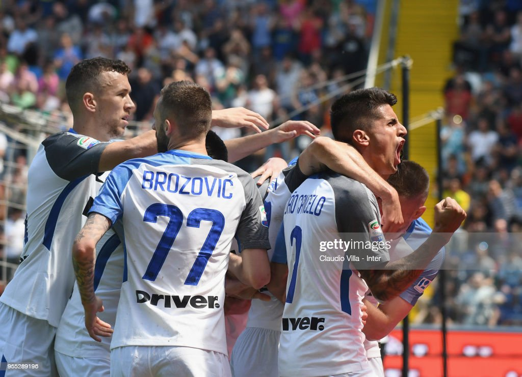 Andrea Ranocchia of FC Internazionale (C) celebrates after scoring the opening goal during the serie A match between Udinese Calcio and FC Internazionale at Stadio Friuli on May 6, 2018 in Udine, Italy.