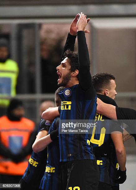 Andrea Ranocchia of FC Internazionale celebrates during the Serie A match between FC Internazionale and ACF Fiorentina at Stadio Giuseppe Meazza on...