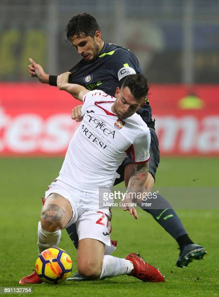 Andrea Ranocchia of FC Internazionale competes for the ball with Simone Magnaghi of Pordenone during the TIM Cup match between FC Internazionale and...
