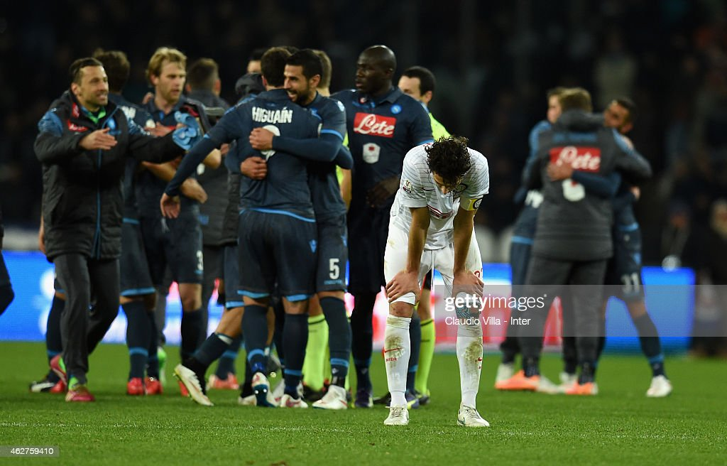 Andrea Ranocchia of FC Internazionale dejected at the end of the TIM Cup match between SSC Napoli and FC Internazionale at Stadio San Paolo on February 4, 2015 in Naples, Italy.