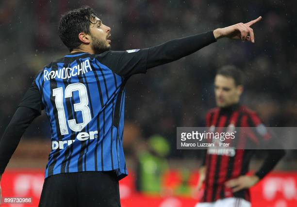 Andrea Ranocchia of FC Internazionale gestures during the TIM Cup match between AC Milan and FC Internazionale at Stadio Giuseppe Meazza on December...