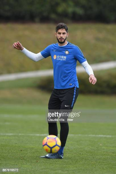 Andrea Ranocchia of FC Internazionale in action during an FC Internazionale training session at Suning Training Center at Appiano Gentile on December...