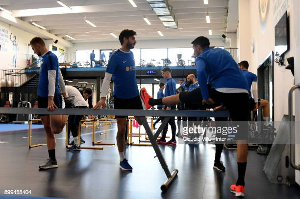 Andrea Ranocchia of FC Internazionale in action during the FC Internazionale training session at Suning Training Center at Appiano Gentile on...