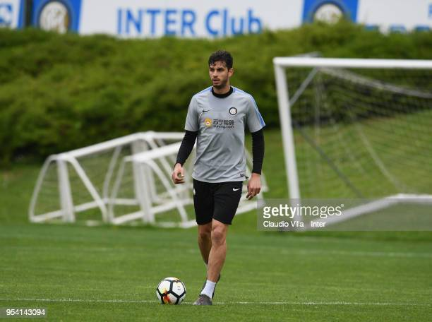 Andrea Ranocchia of FC Internazionale in action during the FC Internazionale training session at the club's training ground Suning Training Center in...