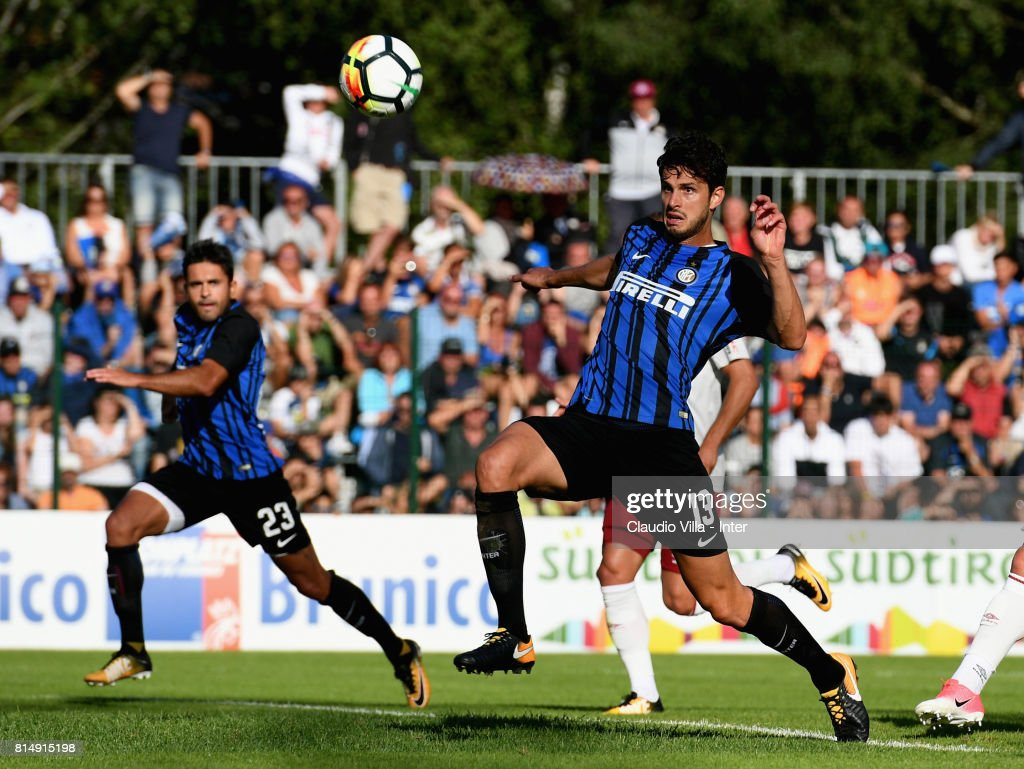 Andrea Ranocchia of FC Internazionale in action during the Pre-Season Friendly match between FC Internazionale and Nurnberg on July 15, 2017 in Bruneck, Italy.