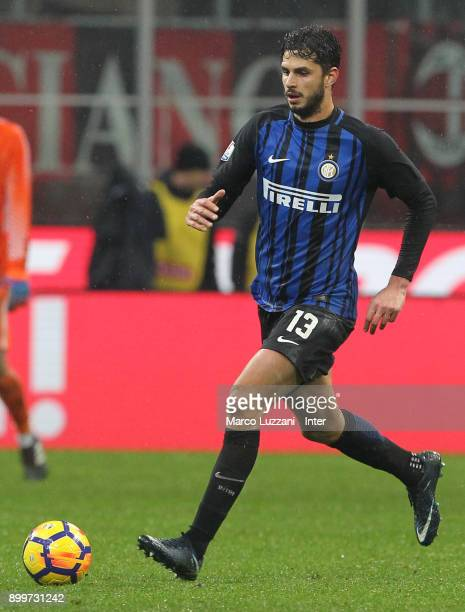 Andrea Ranocchia of FC Internazionale in action during the TIM Cup match between AC Milan and FC Internazionale at Stadio Giuseppe Meazza on December...