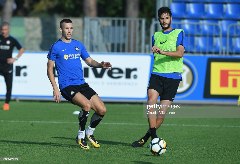 Andrea Ranocchia of FC Internazionale in action during the training session at Suning Training Center at Appiano Gentile on October 12, 2017 in Como, Italy.