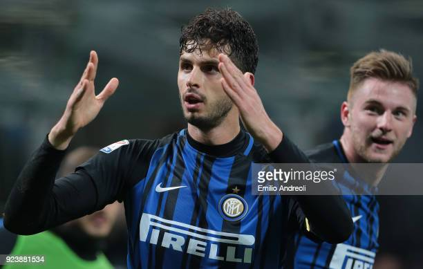Andrea Ranocchia of FC Internazionale Milano celebrates his goal with his teammate Milan Skriniar during the serie A match between FC Internazionale...