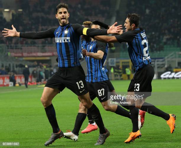 Andrea Ranocchia of FC Internazionale Milano celebrates his goal with his teammates during the serie A match between FC Internazionale and Benevento...