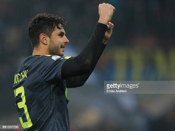 Andrea Ranocchia of FC Internazionale Milano celebrates the victory at the end of the TIM Cup match between FC Internazionale and Pordenone at Stadio...