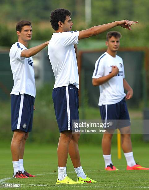 Andrea Ranocchia of FC Internazionale Milano gestures during FC Internazionale Training Session at the club's training ground on August 16 2014 in...