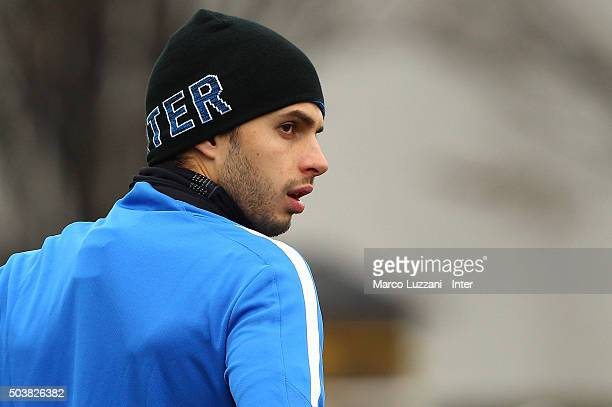 Andrea Ranocchia of FC Internazionale Milano looks on during the FC Internazionale training session at the club's training ground on January 7 2016...