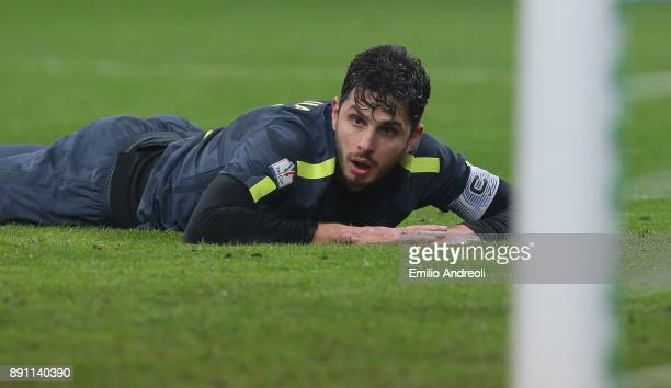 Andrea Ranocchia of FC Internazionale Milano reacts during the TIM Cup match between FC Internazionale and Pordenone at Stadio Giuseppe Meazza on...