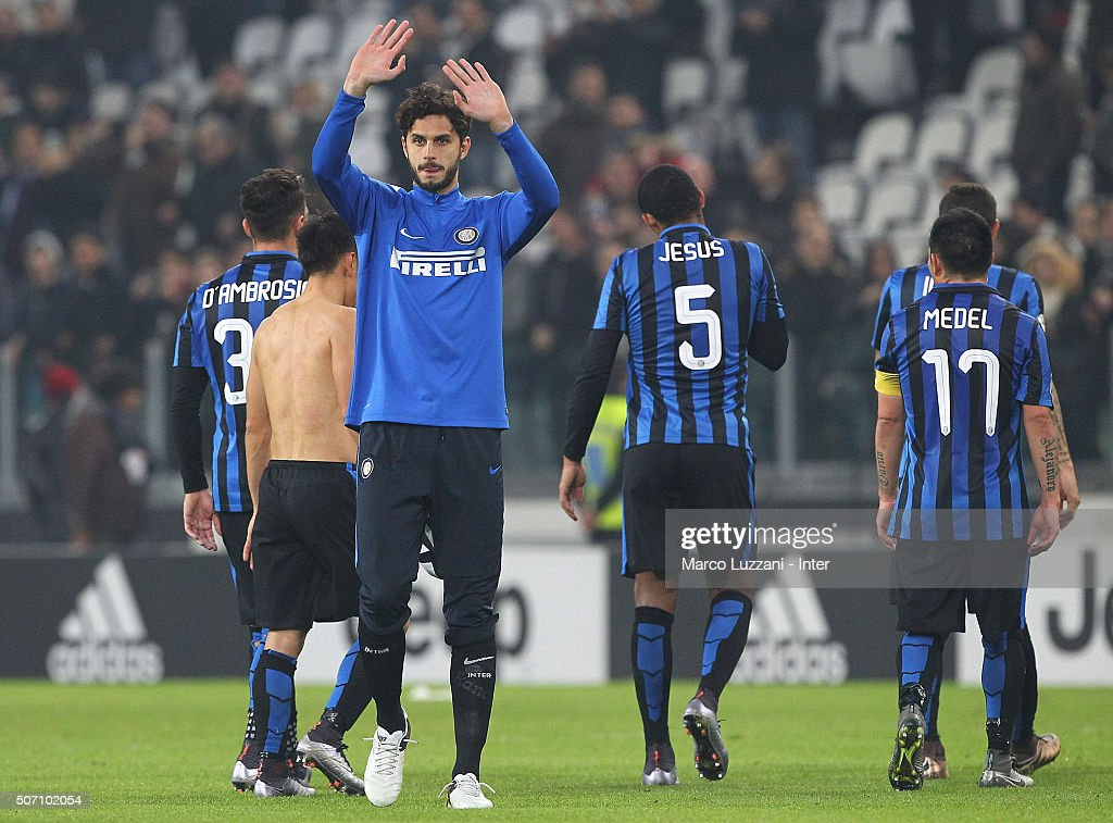Andrea Ranocchia of FC Internazionale Milano salutes the fans at the end of the TIM Cup match between Juventus FC and FC Internazionale Milano at Juventus Arena on January 27, 2016 in Turin, Italy.