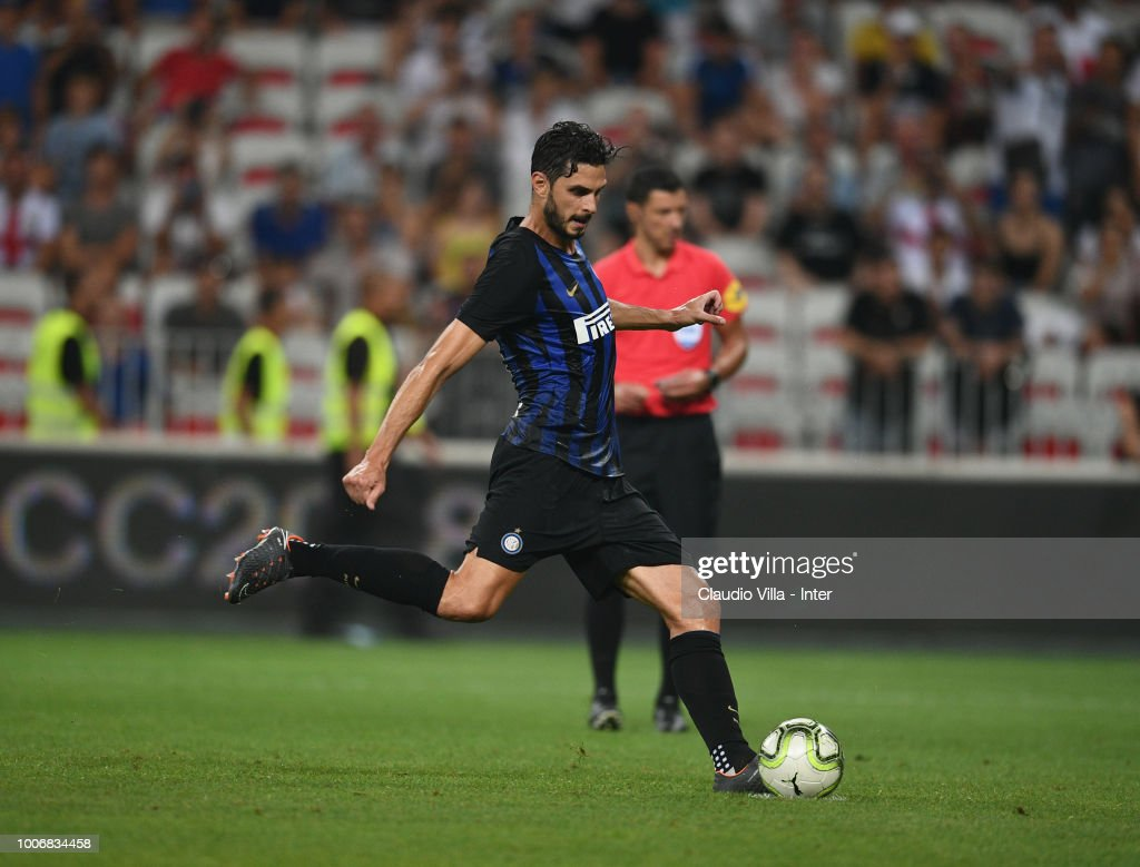 Andrea Ranocchia of FC Internazionale plays a penalty kick during the International Champions Cup 2018 match between Chelsea and FC Internazionale played at Allianz Riviera Stadium on July 28, 2018 in Nice, France.