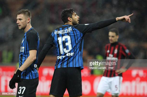 Andrea Ranocchia of FC Internazionale reacts during the TIM Cup match between AC Milan and FC Internazionale at Stadio Giuseppe Meazza on December 27...