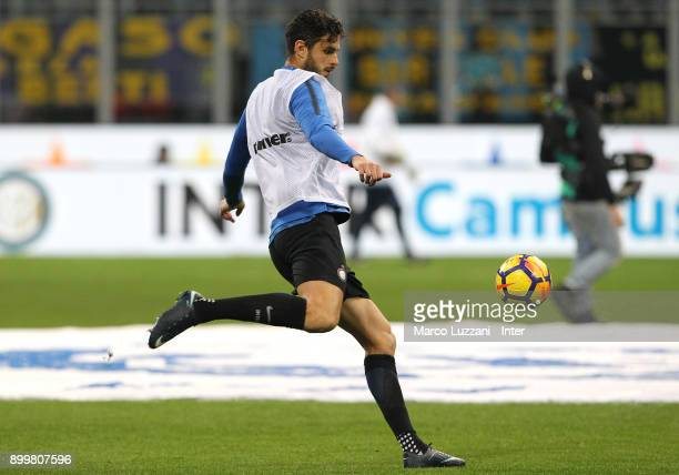 Andrea Ranocchia of FC Internazionale warms up ahead of the serie A match between FC Internazionale and SS Lazio at Stadio Giuseppe Meazza on...