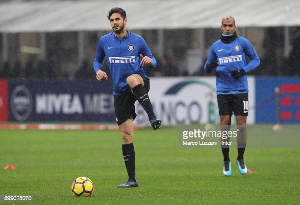 Andrea Ranocchia of FC Internazionale warms up ahead of the TIM Cup match between AC Milan and FC Internazionale at Stadio Giuseppe Meazza on...
