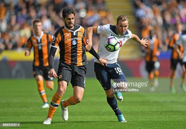 Andrea Ranocchia of Hull City and Harry Kane of Tottenham Hotspur battle for possession during the Premier League match between Hull City and...