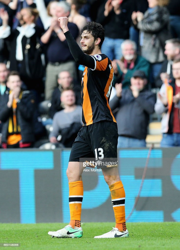 Andrea Ranocchia of Hull City celebrates scoring his sides second goal during the Premier League match between Hull City and West Ham United at KCOM Stadium on April 1, 2017 in Hull, England.