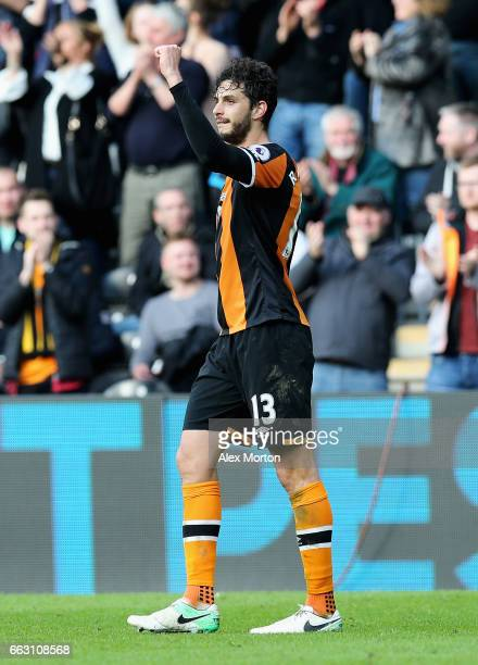 Andrea Ranocchia of Hull City celebrates scoring his sides second goal during the Premier League match between Hull City and West Ham United at KCOM...