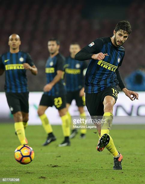 Andrea Ranocchia of Inter during the Serie A match between SSC Napoli and FC Internazionale at Stadio San Paolo on December 2 2016 in Naples Italy