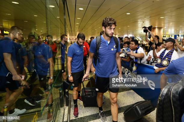Andrea Ranocchia of Inter Milan arrives at Changi International Airport ahead of the International Champions Cup on July 25 2017 in Singapore