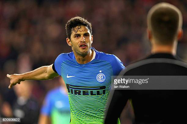 Andrea Ranocchia of Internazionale speaks to the aditional assistant referee after a penalty is given to Southampton during the UEFA Europa League...